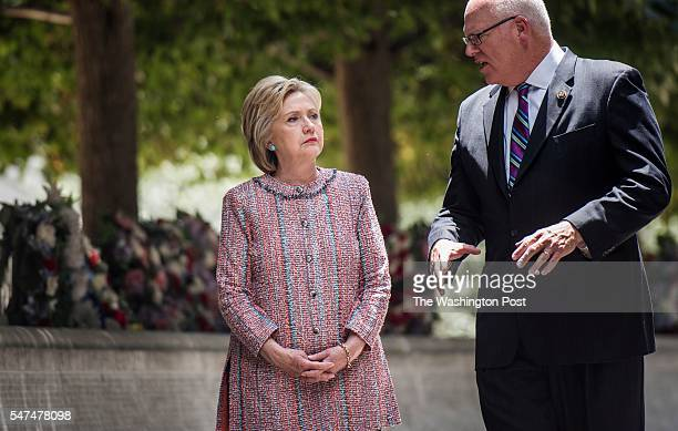 WASHINGTON DC Democratic Presumptive Nominee for President former Secretary of State Hillary Clinton places flowers at the National Law Enforcement...
