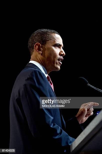 US Democratic presumptive presidential nominee Illinois Senator Barack Obama addresses the policy conference of the American Israel Public Affairs...