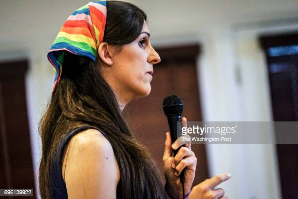 Democratic primary candidate Danica Roem makes her pitch to voters at the Bull Run Swim Raquet Club while debating three fellow Democrats vying to...