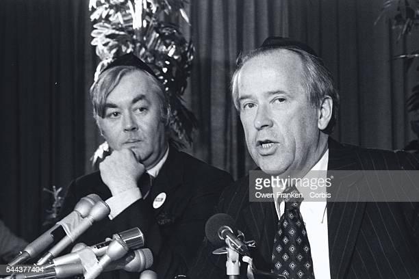 Democratic Primary candidate Senator Henry Jackson and politician Daniel Patrick Moynihan speak at a forum