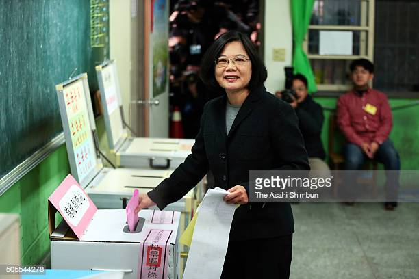 Democratic Progressive Party presidential candidate Tsai Ing-wen, casts her ballot at a polling station on January 16, 2016 in Taipei, Taiwan. Voters...