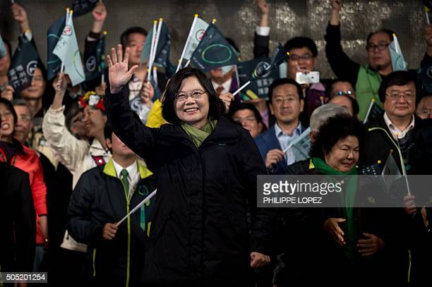 Democratic Progressive Party presidential candidate Tsai Ingwen celebrates her victory inTaipei on January 15 2016 Voters in Taiwan elected a...