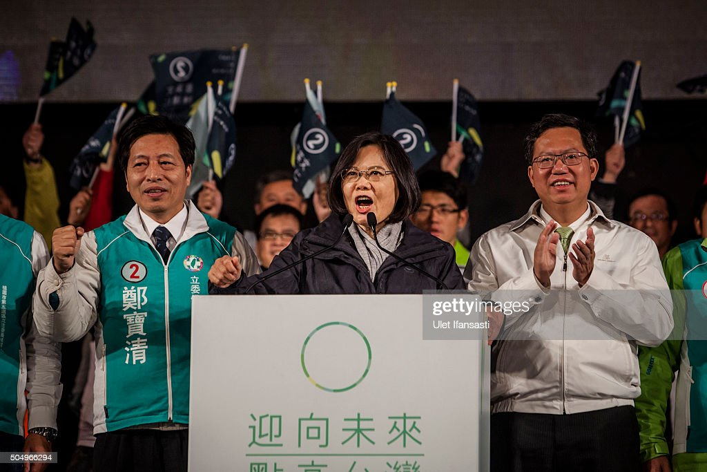 Democratic Progressive Party (DPP) presidential candidate Tsai Ing-wen deliver speech during rally campaign ahead of the Taiwanese presidential election on January 14, 2016 in Taoyuan, Taiwan. Voters in Taiwan are set to elect Tsai Ing-wen, the chairwoman of the opposition Democratic Progressive Party, to become the island's first female leader.