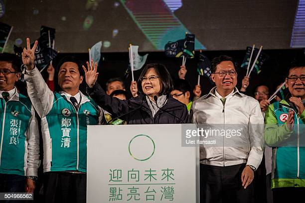 Democratic Progressive Party presidential candidate Tsai Ingwen deliver speech during rally campaign ahead of the Taiwanese presidential election on...