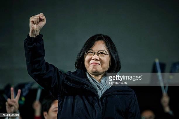 Democratic Progressive Party presidential candidate Tsai Ing-wen waves to supporters during rally campaign ahead of the Taiwanese presidential...