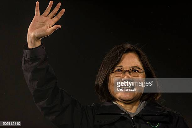 Democratic Progressive Party presidential candidate Tsai Ing-wen waves to supporters during a rally campaign ahead of the Taiwanese presidential...