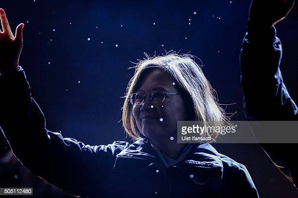 Democratic Progressive Party presidential candidate Tsai Ing-wen, waves to supporters during a rally campaign ahead of the Taiwanese presidential...