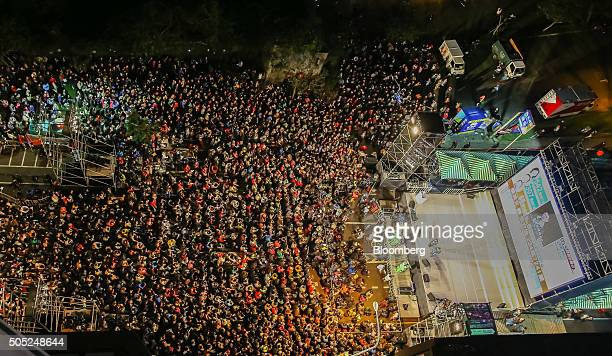 Democratic Progressive Party supporters gather for a rally celebrating the election of Tsai Ingwen Taiwan's presidentelect not pictured in Taipei...