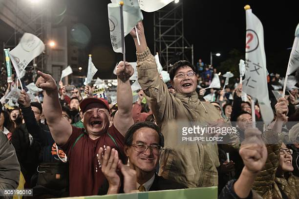 Democratic Progressive Party supporters gather outside the party headquarters as they anticipate an election victory for by Tsai Ingwen as vote...