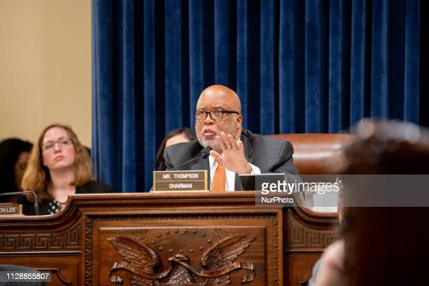 Democratic Rep Bennie Thompson of Mississippi questioning Homeland Security Secretary Kirstjen Nielsen about the Trump administration's treatment of...
