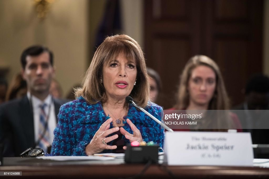US Democratic Representative from California Jackie Speier speaks during a House Administration Committee hearing on 'Preventing Sexual Harassment in the Congressional Workplace' on Capitol Hill in Washington, DC, on November 14, 2017. /