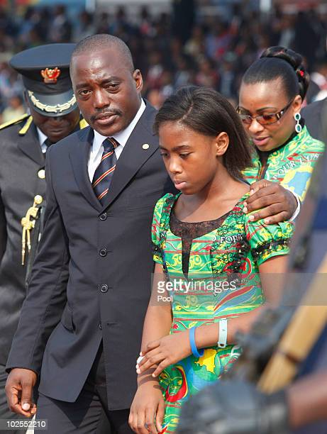 Democratic Republic of Congo President Joseph Kabila attends with his wife and daughter the 50th anniversary parade marking the independence of the...