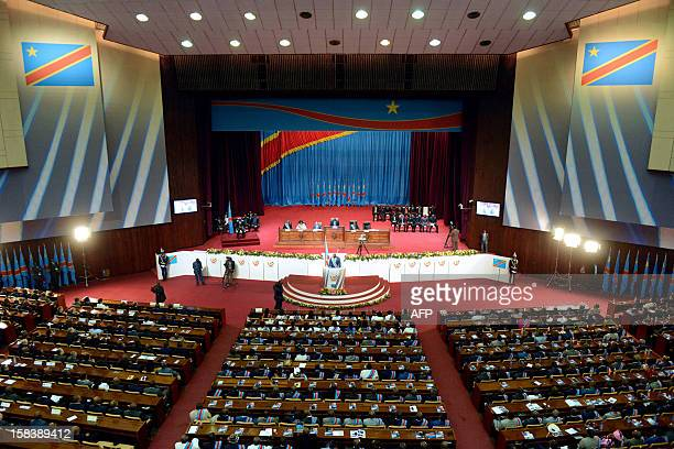 Democratic Republic of Congo President Joseph Kabila delivers a speech on December 15 2012 at the Parliament in Kinshasa's People Palace Kabila on...