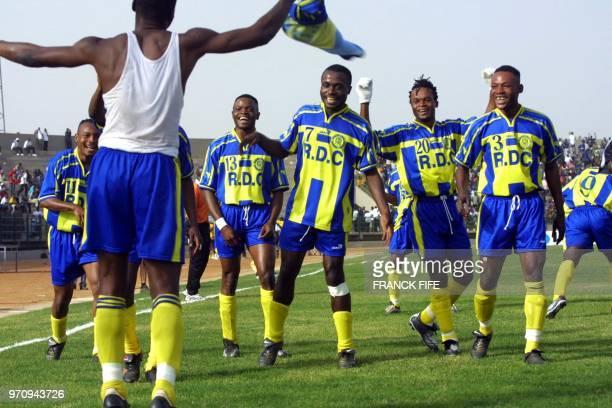Democratic Republic of Congo Yvos Kituele Yuvuladio dances with teammates Okitankoyi Kimoto Serge Dikilulu Bageta Mousasa Felix Muamba and Mundaba...