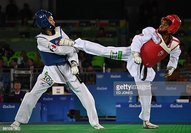 Democratic Republic of Congo's Rosa Keleku Lukusa competes with Mexico's Itzel Adilene Manjarrez Bastidas during their womens taekwondo qualifying...