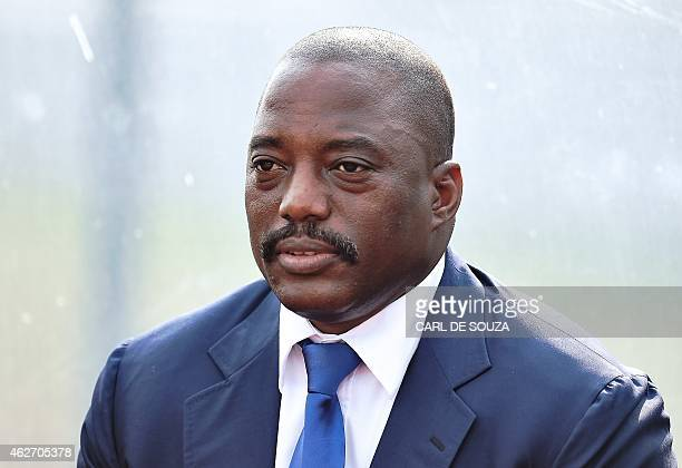 Democratic Republic of the Congo Joseph Kabila attends a training session of his country's football team in Bata on February 3 2015 RD Congo will...