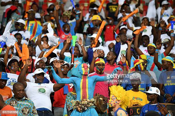 Democratic Republic of the Congo supporter cheers during the 2017 Africa Cup of Nations group C football match between Togo and DR Congo in...