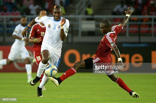 Democratic Republic of the Congo's forward Yannick Bolasie vies with Congo's defender Boris Moubio Ngonga during the 2015 African Cup of Nations...
