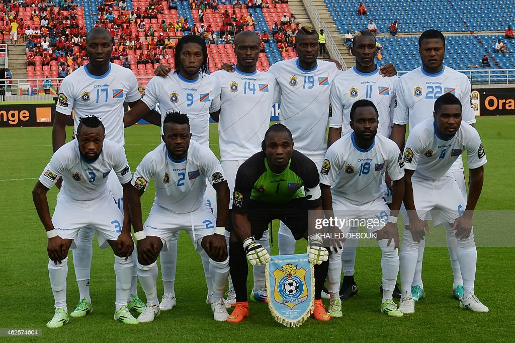 Democratic Republic of the Congo's players line up ahead of the 2015 African Cup of Nations quarter final football match between Congo and Republic of the Congo in Bata, on January 31, 2015. (LtoR, from upper to lower row) - Democratic Republic of the Congo's defender Cedric Mongongu, Democratic Republic of the Congo's forward Dieudonne Mbokani, Democratic Republic of the Congo's defender Gabriel Zakuani, Democratic Republic of the Congo's forward Jeremy Bokila, Democratic Republic of the Congo's forward Yannick Bolasie, Democratic Republic of the Congo's defender Chancel Mbemba, Democratic Republic of the Congo's defender Jean Kasusula, Democratic Republic of the Congo's defender Issama Mpeko, Democratic Republic of the Congo's goalkeeper Robert Kidiaba Muteba, Democratic Republic of the Congo's forward Cedrick Mabwati and Democratic Republic of the Congo's midfielder Cedric Makiadi.