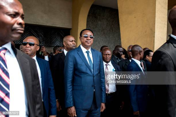 Democratic Republic of the Congo's Prime Minister Bruno Tshibala leaves after a mass during celebrations marking the 17th anniversary of the...
