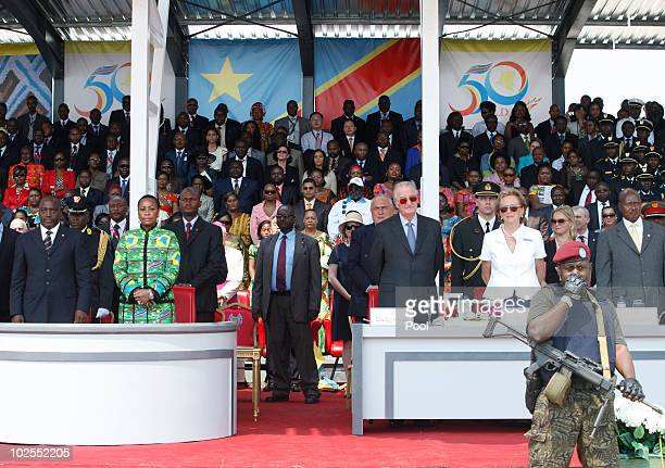 Democratic Repuplic of Congo President Joseph Kabila and his wife Olive Kabila King Albert II of Belgium and Queen Paola of Belgium watch the 50th...