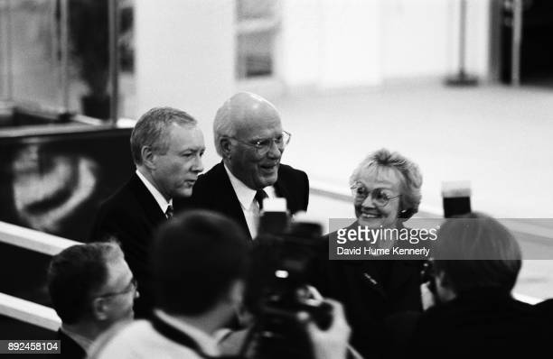 Democratic Sen Pat Leahy of Vermont with his wife Marcelle Pomerleau arrives at the US Capitol Building to cast his vote in the Senate Impeachment...