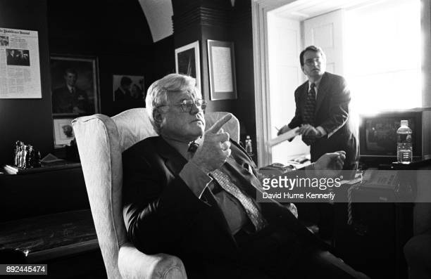 Democratic Sen Ted Kennedy speaks with reporters in his office on Capitol Hill during the Senate Impeachment Trial of Bill Clinton on Jan 27...