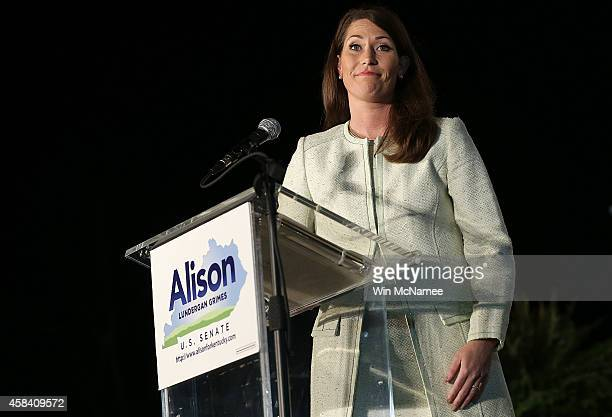 Democratic Senate candidate and Kentucky Secretary of State Alison Lundergan Grimes speaks to supporters following her defeat by Senate Minority...