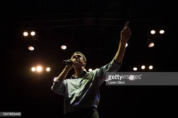 Democratic Senate candidate Beto O'Rourke addresses supporters during a campaign rally at White Oak Music Hall on October 8 2018 in Houston Texas...