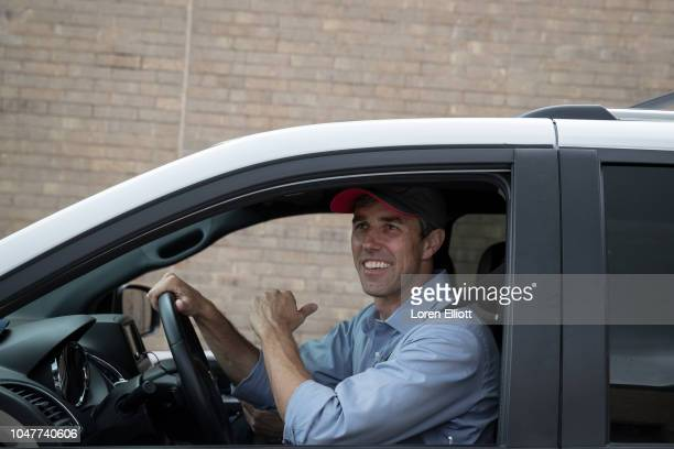 Democratic Senate candidate Beto O'Rourke departs a campaign rally at Lone Star College North Harris on October 8 2018 in Houston Texas O'Rourke is...
