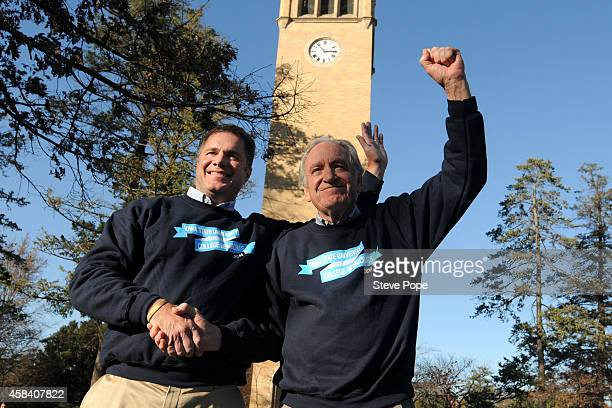 Democratic Senate Candidate Bruce Braley left and US Senator Tom Harkin unite during a last minute pitch to get out the vote on the Campus of Iowa...
