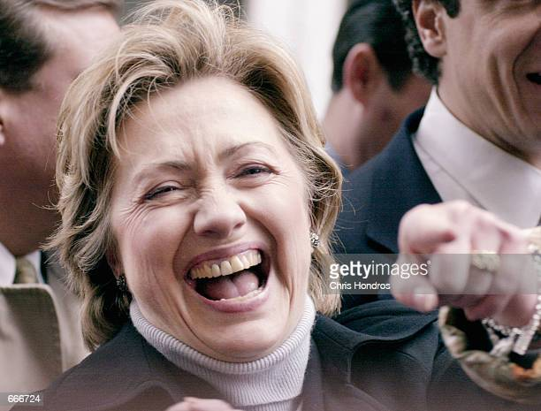 Democratic Senate candidate Hillary Rodham Clinton points out a supporter at the Columbus Day parade October 9 2000 in New York City