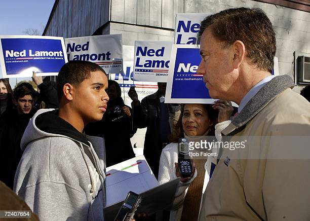 Democratic Senate candidate Ned Lamont is interviewed by student Elmer Guerra from Crosby High School in Waterbury while his mother Mercedes Mendez...