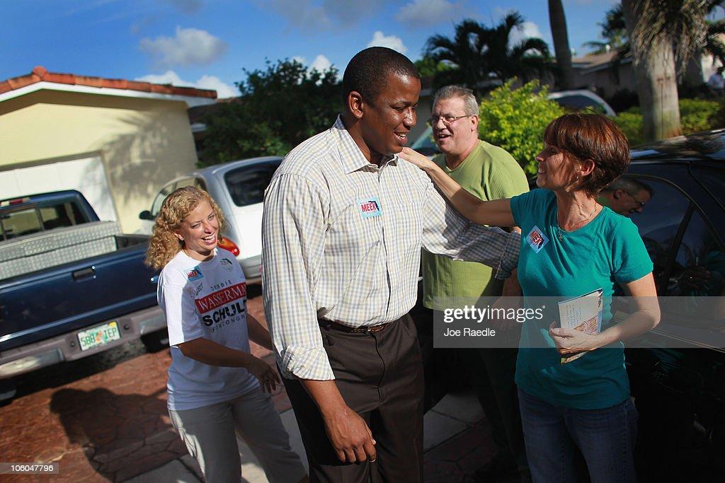 Debbie Wasserman Schultz Joins Kendrick Meek For canvasing In South Florida : News Photo