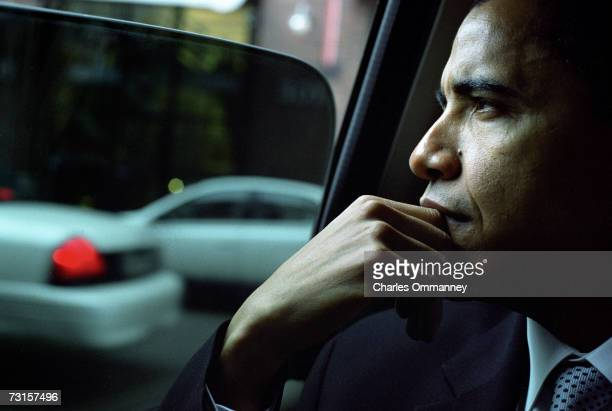 Democratic Senator Barack Obama drives from his home on December 8 2004 in Chicago Illinois The Senator will give the keynote address at the Chicago...