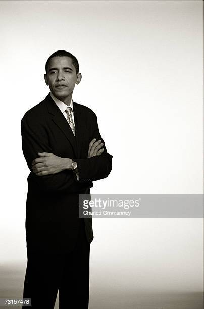 Democratic Senator Barack Obama gets ready at his home before leaving to give the keynote address at the Chicago Economic Club on December 8 2004 in...