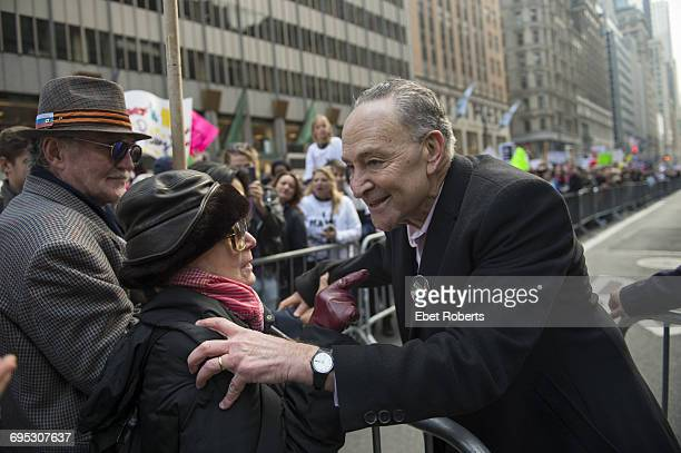 Democratic Senator from New York Chuck Schumer at the Women's March in New York City 21st January 2017