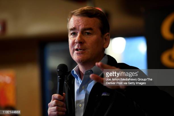 Democratic Senator Michael Bennet speaks to the Polk County Democrats at Doc's Lounge February 22 in Johnston Iowa