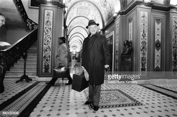 Democratic Senator Robert Byrd of North Carolina pauses in the hallways of the US Capitol Building during the Senate Impeachment Trial of President...