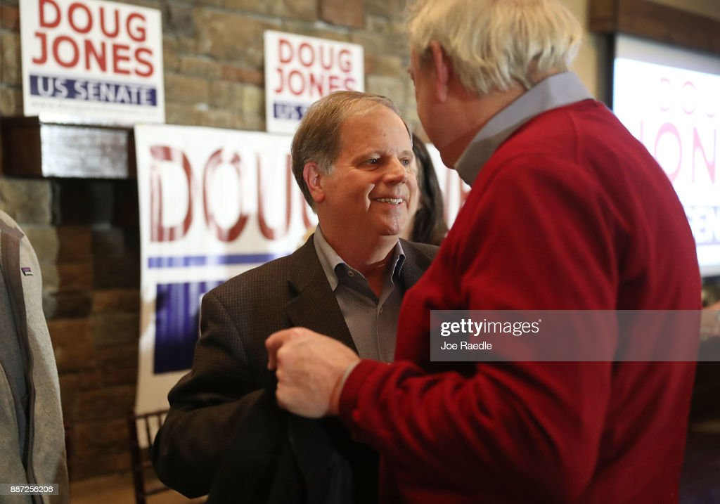 Democratic Senatorial candidate Doug Jones greets people after hosting a 'Women's Wednesday' campaign event on December 6, 2017 in Cullman, Alabama. Mr. Jones is facing off against Republican Roy Moore in next week's special election for the U.S. Senate.