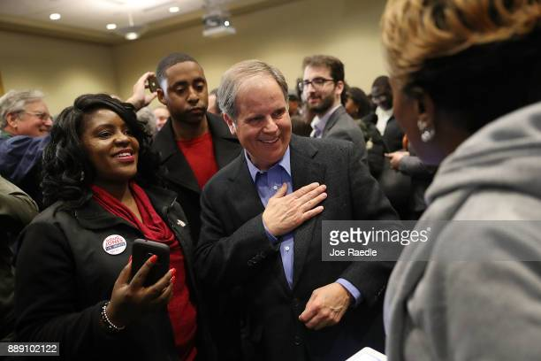 Democratic Senatorial candidate Doug Jones greets people during a campaign event held at Alabama State University at the John Garrick Hardy...