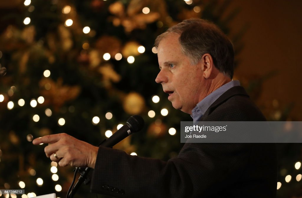 Democratic Senatorial candidate Doug Jones speaks as he hosts a 'Women's Wednesday' campaign event on December 6, 2017 in Cullman, Alabama. Mr. Jones is facing off against Republican Roy Moore in next week's special election for the U.S. Senate.
