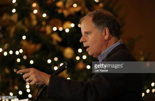 Democratic Senatorial candidate Doug Jones speaks as he hosts a 'Women's Wednesday' campaign event on December 6 2017 in Cullman Alabama Mr Jones is...
