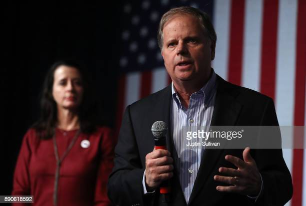Democratic Senatorial candidate Doug Jones speaks during a get out the vote campaign rally on December 11 2017 in Birmingham Alabama Jones is facing...