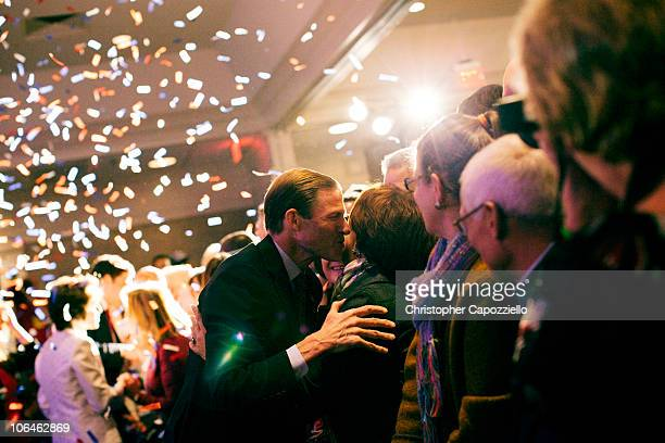 Democratic senatorial candidate Richard Blumenthal greets supporters after he announced his victory over Republican candidate Linda McMahon during an...