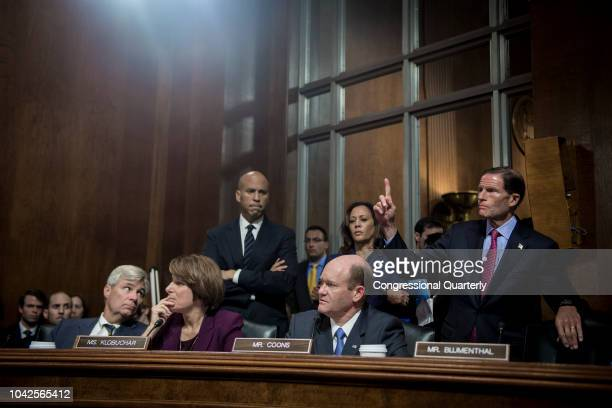 Democratic Senators wait to vote during the Senate Judiciary Committee meeting about the Supreme Court nominee Brett Kavanaugh Friday Sept 28 2018