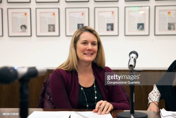 Democratic strategist Ali Lapp before recording an episode of her podcast House Talk with Ali and Liesl at the EMILY's List DC office March 19 2018