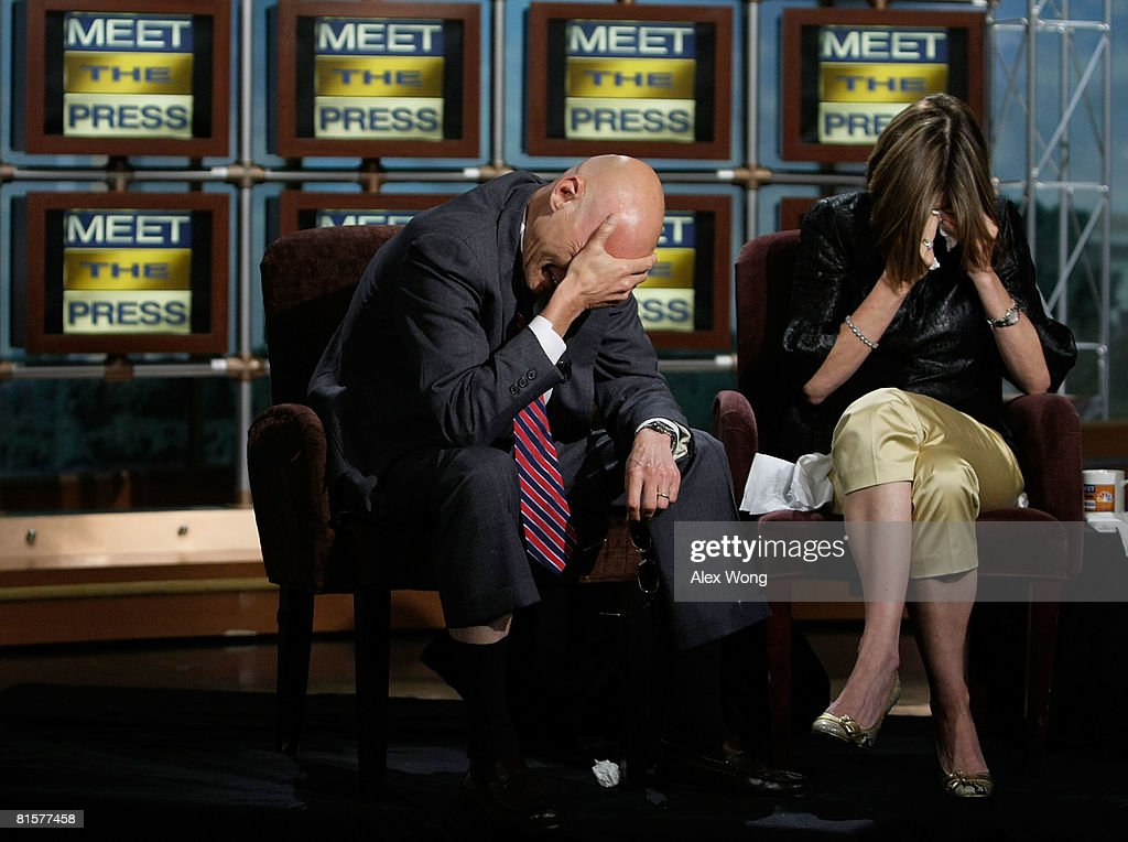 Democratic strategist James Carville and his wife Republican strategist Mary Matalin burst into tears during a taping of 'Meet the Press' in memory of the late moderator Tim Russert June 15, 2008 at the NBC studios in Washington, DC. Russert died June 13, 2008 of a heart attack while at the NBC bureau in Washington at the age of 58.