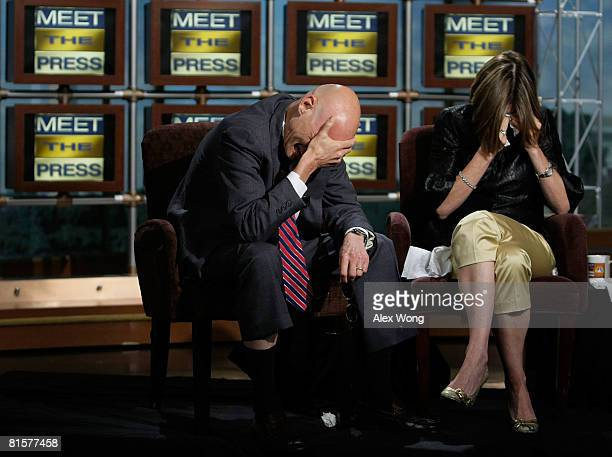 Democratic strategist James Carville and his wife Republican strategist Mary Matalin burst into tears during a taping of Meet the Press in memory of...