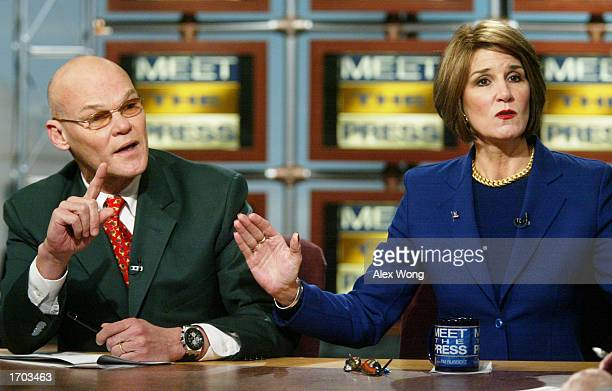 Democratic strategist James Carville argues with his wife Mary Matalin a Republican strategist during a taping of a roundtable discussion on NBC's...